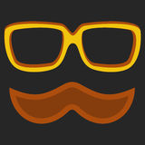 Hipster nerd glasses and stylish mustache on black Stock Images
