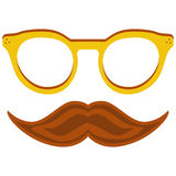 Hipster nerd glasses and stylish mustache isolated on white Royalty Free Stock Image