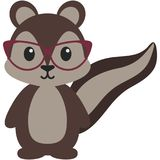 Hipster Nerdy Geeky Woodland Squirrel Illustration. Adorable brown woodland squirrel rocking hipster nerdy geeky style with red cat eye glasses Stock Photos