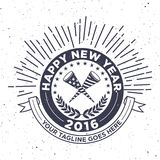 Hipster New Year 2016, Badge and Trumpet, Distressed Vector Royalty Free Stock Image