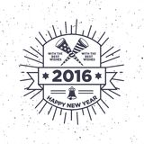 Hipster New Year 2016, Badge and Trumpet, Distressed Vector. Template vector illustration
