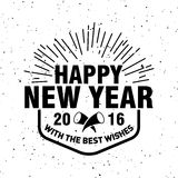 Hipster New Year 2016, Badge and Trumpet, Distressed Vector. Template royalty free illustration