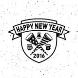 Hipster New Year 2016, Badge and Trumpet, Distressed Vector. Template stock illustration