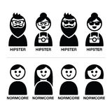 Hipster and normcore trend, style - man and woman icons Royalty Free Stock Image