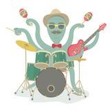 Hipster Octopus Play Music Stock Photos