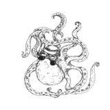 Hipster Octopus Tattoo Stock Photo