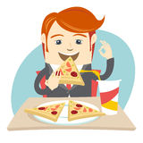 Hipster office man eating pizza at cafe. Flat style Royalty Free Stock Photography