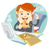 Hipster office man eating pizza at his workplace. Flat style Royalty Free Stock Images