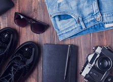 Hipster outfit on the wooden background Royalty Free Stock Photo