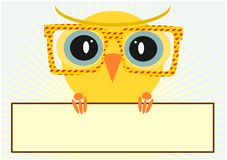 Hipster owl. Illustration of colorful owls wearing hipster glasses. Vector Royalty Free Stock Photography
