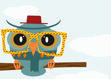 Hipster owl Stock Image