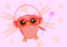 Hipster owl. Illustration of colorful owl wearing hipster glasses. Vector Stock Photos