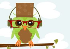 Hipster owl. Illustration of colorful owl wearing hipster glasses. Vector Royalty Free Stock Photo
