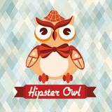 Hipster owl poster Stock Photography