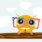 Hipster owl. Square illustration of colorful owls wearing hipster glasses. Vector Royalty Free Stock Photos