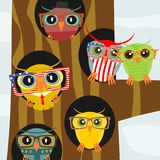 Hipster owl. Square illustration of colorful owls wearing hipster glasses. Vector Stock Photo