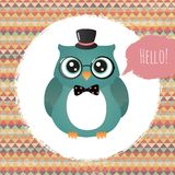 Hipster Owl in Textured Frame design illustration Stock Photography