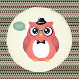 Hipster Owl in Textured Frame design illustration Royalty Free Stock Photo