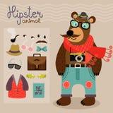 Hipster pack for animal teddy bear Stock Photos