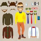 Hipster Paper Doll Man Fashion stock illustration