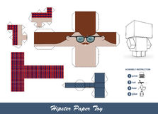 Hipster paper toy with assembly instruction. Royalty Free Stock Photo