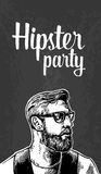 Hipster party for poster or greeting card. Vector vintage engraved illustration. White on black background. Stock Photo