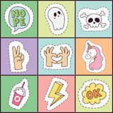Hipster patches elements hand drawn cute fashionable stickers doodle pop art sketch pins and comic badges vector. Ilustration. Embroidery sketch badge accessory Royalty Free Stock Photos