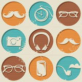 Hipster pattern consists of round shapes with hipster style elements. Royalty Free Stock Images
