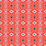Hipster pattern with geometric forms in coral red Royalty Free Stock Images