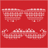 Hipster pattern in Scandinavian Nordic winter stitching  knitting  christmas style with mustache, geek sunglasses, love heart Stock Image