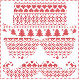 Hipster pattern in Scandinavian Nordic winter stitching  knitting  christmas style with mustache, geek sunglasses, love heart Royalty Free Stock Photo