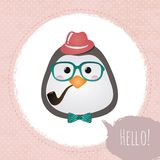 Hipster Penguin Textured Frame design illustration Stock Photos