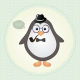 Hipster Penguin Textured Frame design illustration Royalty Free Stock Photo