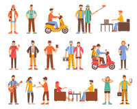 Hipster People Decorative Icons Set Stock Images