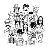 Hipster people icon set. vector illustrations Royalty Free Stock Photography