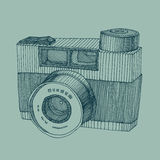 Hipster photo camera engraved retro style   Stock Photography