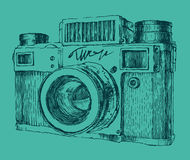 Hipster photo camera engraved retro style Royalty Free Stock Photos