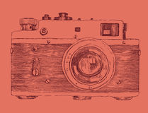 Hipster photo camera engraved retro style Royalty Free Stock Image