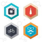 Hipster photo camera icon. Glasses symbol Stock Images