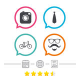 Hipster photo camera icon. Glasses symbol. Royalty Free Stock Photography