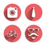 Hipster photo camera icon. Glasses symbol Royalty Free Stock Photography