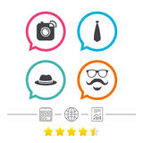 Hipster photo camera icon. Glasses symbol. Royalty Free Stock Images