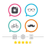 Hipster photo camera icon. Glasses symbol. Stock Photos