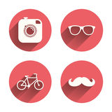 Hipster photo camera icon. Glasses symbol Stock Image