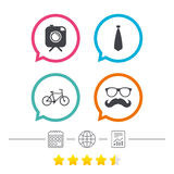 Hipster photo camera icon. Glasses symbol. Stock Images
