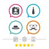 Hipster photo camera icon. Glasses symbol. Stock Photo