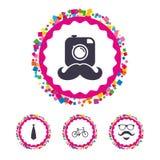 Hipster photo camera icon. Glasses symbol. Stock Image