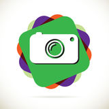 Hipster photo or camera icon with long shadow Royalty Free Stock Image