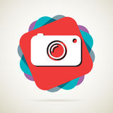 Hipster photo or camera icon with long shadow Stock Photos