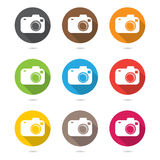 Hipster photo or camera icon set  with shadow Royalty Free Stock Images